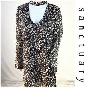 NWT $133 Sanctuary Long Sleeve V Neck Choker Dress
